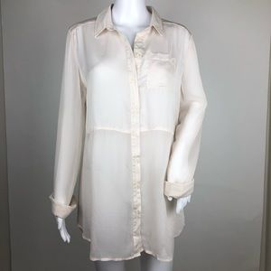 Free People Long Sleeved Button Front Blouse